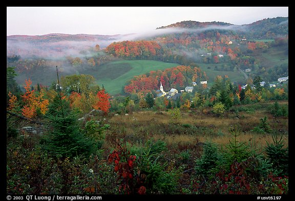 East Corinth village in fall with morning fog. Vermont, New England, USA (color)