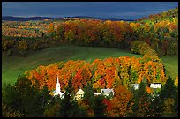 Church and houses in fall, East Corinth. Vermont, New England, USA (color)