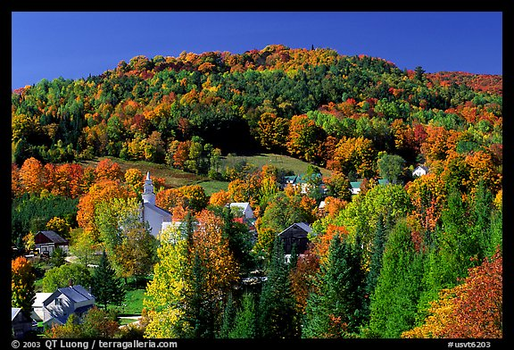 East Topsham village in fall. Vermont, New England, USA (color)