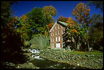 Old Mill next to a cascading brook near Stowe. Vermont, New England, USA ( color)