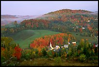 East Corinth village in fall, morning. Vermont, New England, USA (color)