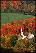 Church of East Corinth among trees in fall color. Vermont, New England, USA (color)