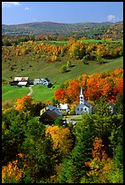 Church and farm,  East Corinth. Vermont, New England, USA ( color)