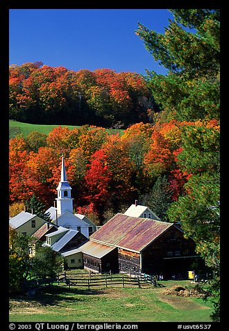 Church and barn,  East Corinth. Vermont, New England, USA (color)