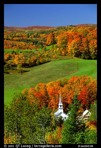 Church of East Corinth among trees in autumn color. Vermont, New England, USA
