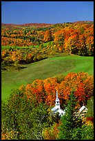 Church of East Corinth among trees in autumn color. Vermont, New England, USA ( color)