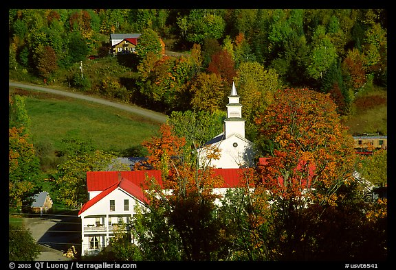 Red roofs in East Topsham village. Vermont, New England, USA (color)