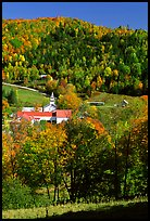 East Topsham village with fall foliage. Vermont, New England, USA (color)