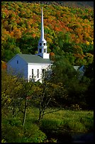 White steepled church in Stowe. Vermont, New England, USA ( color)