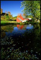 Pond and Sherbourne Farm in Hewettville. Vermont, New England, USA