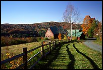 Fence and barn. Vermont, New England, USA