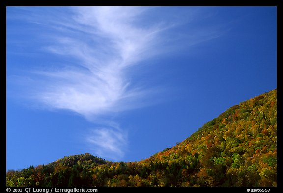 Hills in fall colors and cloud, Green Mountains. Vermont, New England, USA (color)
