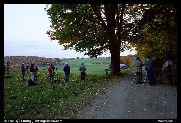 Photographers at Jenne Farm. Vermont, New England, USA (color)