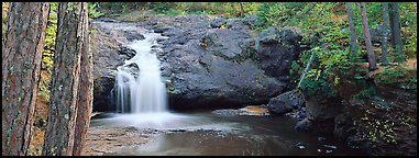 Forest scene with waterfall,  Amnicon Falls State Park. Wisconsin, USA (Panoramic color)