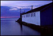 Wharf building in Lake Superior at dusk, Apostle Islands National Lakeshore. Wisconsin, USA (color)