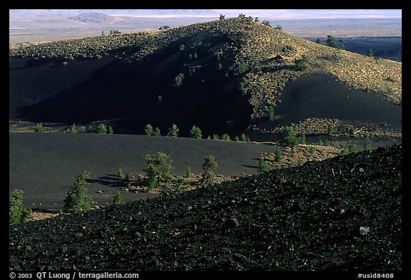 Slopes covered with hardened lava and cinder, Craters of the Moon National Monument. Idaho, USA (color)