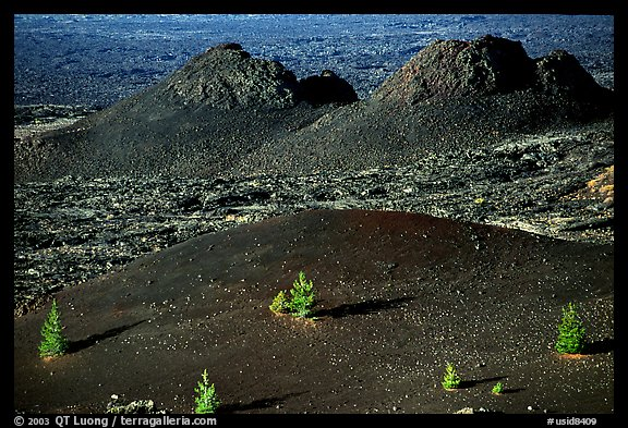 Cinder cone and lava plugs, Craters of the Moon National Monument. Idaho, USA