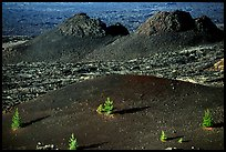 Cinder cone and lava plugs, Craters of the Moon National Monument. Idaho, USA (color)
