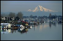 North Portland Harbor, houseboats, and Mt Hood. Portland, Oregon, USA (color)