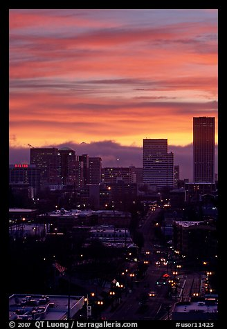 Skyline and bright sky at sunrise. Portland, Oregon, USA