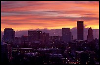 Downtown skyline with colorful sky at sunrise. Portland, Oregon, USA