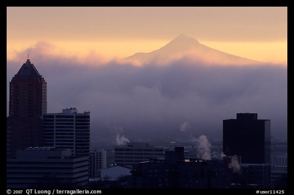 High rise buildings and Mt Hood at sunrise. Portland, Oregon, USA