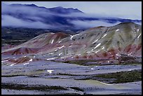 Painted hills at dusk in winter. John Day Fossils Bed National Monument, Oregon, USA (color)