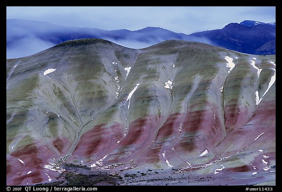 Painted hills, winter dusk. John Day Fossils Bed National Monument, Oregon, USA