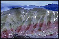 Painted hills, winter dusk. John Day Fossils Bed National Monument, Oregon, USA (color)