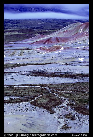 Blue light on Painted hills at dusk. John Day Fossils Bed National Monument, Oregon, USA
