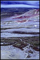 Blue light on Painted hills at dusk. John Day Fossils Bed National Monument, Oregon, USA (color)