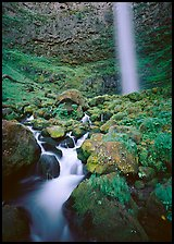 Mossy boulders and Watson Falls. Oregon, USA