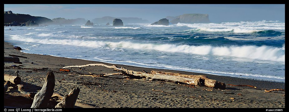 Oregon seascape with beach and surf. Bandon, Oregon, USA (color)