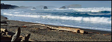 Oregon seascape with beach and surf. Bandon, Oregon, USA (Panoramic color)
