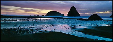 Beach and seastacks at sunset. Oregon, USA (Panoramic color)
