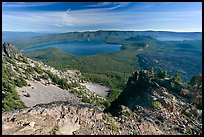 Newberry Caldera area from Paulina Peak. Newberry Volcanic National Monument, Oregon, USA (color)