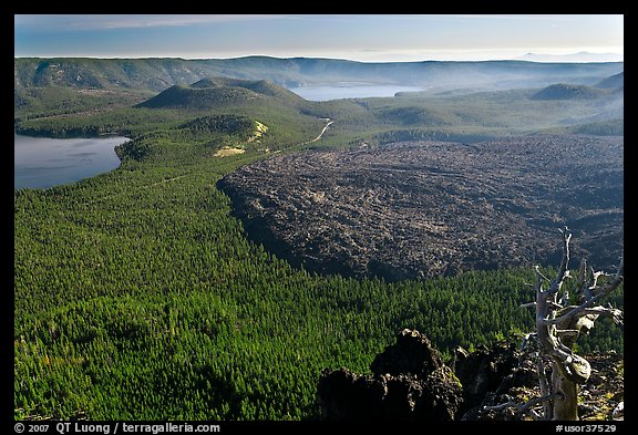 Lakes and lava flow, early morning. Newberry Volcanic National Monument, Oregon, USA (color)