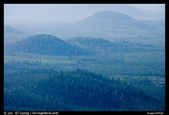 Old cinder cones in the distance. Newberry Volcanic National Monument, Oregon, USA (color)