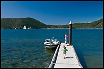 Deck with boat, East Lake. Newberry Volcanic National Monument, Oregon, USA (color)