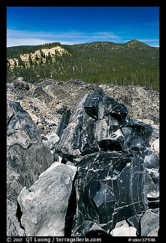 Obsidian and hills. Newberry Volcanic National Monument, Oregon, USA (color)