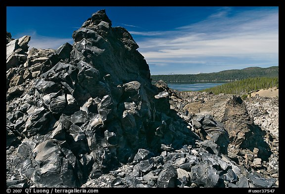 Obsidian glass and Paulina Lake. Newberry Volcanic National Monument, Oregon, USA (color)