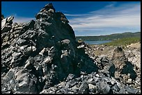 Obsidian glass and Paulina Lake. Newberry Volcanic National Monument, Oregon, USA ( color)