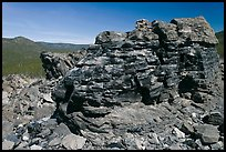 Obsidian glass formation. Newberry Volcanic National Monument, Oregon, USA ( color)