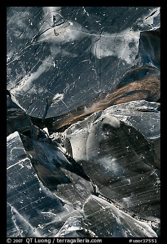 Obsidian glass close-up. Newberry Volcanic National Monument, Oregon, USA