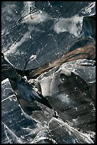 Obsidian glass close-up. Newberry Volcanic National Monument, Oregon, USA (color)