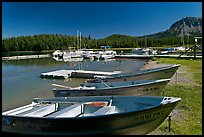Boats and marina, Paulina Lake. Newberry Volcanic National Monument, Oregon, USA