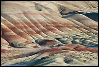 Colorful layers of rock on eroded hills. John Day Fossils Bed National Monument, Oregon, USA (color)