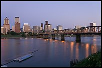 Williamette River and Portland skyline at night. Portland, Oregon, USA (color)