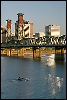 Double-oar rowboat and  Hawthorne Bridge. Portland, Oregon, USA (color)