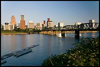 Hawthorne Bridge and Portland Skyline. Portland, Oregon, USA (color)